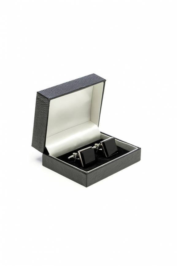 Black Solid Square Cufflinks-0