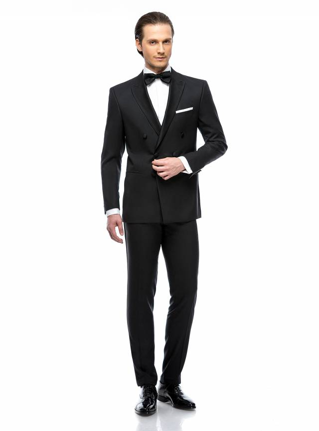 Costum Black Tie Double Breasted Tuxedo-0