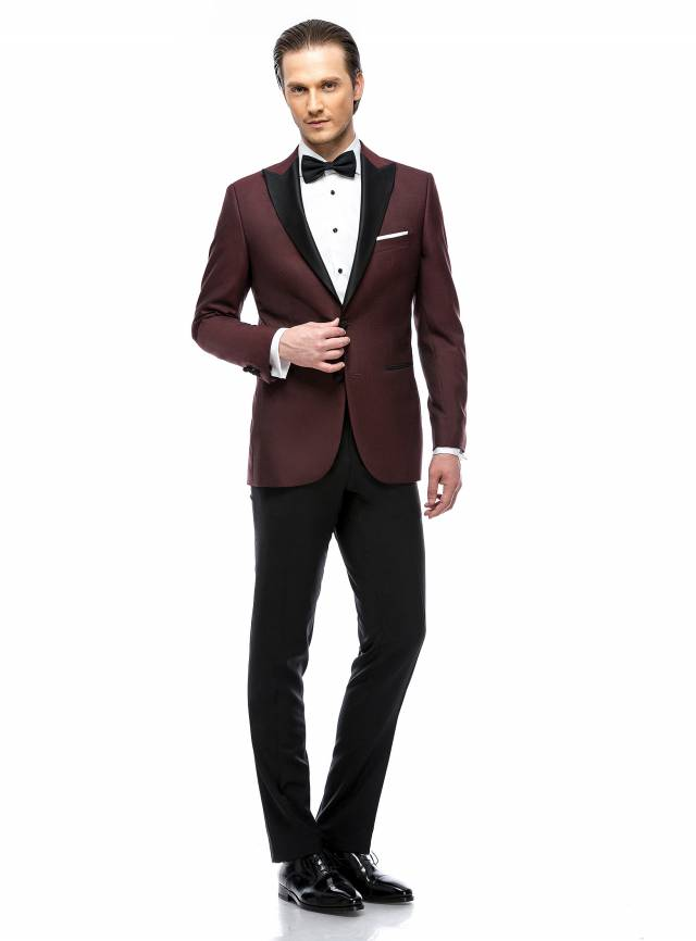 Costum Essential Burgundy Satin Tuxedo-0