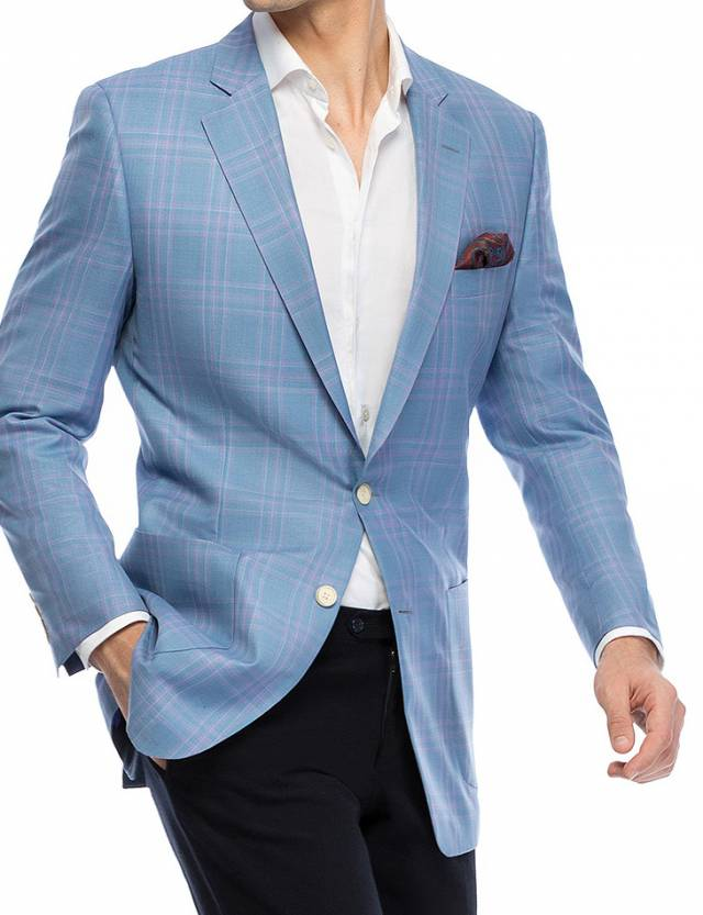 Sacou Sherry Silk Blue Checks-0