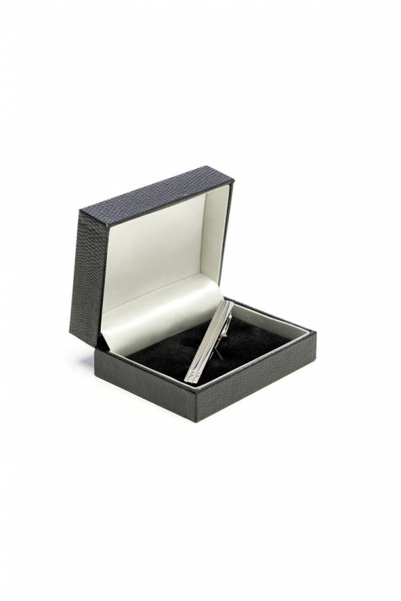 Plain Silver Step Tie Slide-0