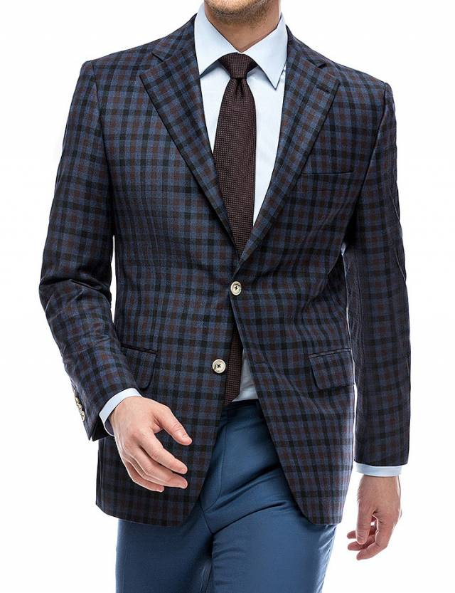 Sacou Merino Worsted Dark Blue Checks-0