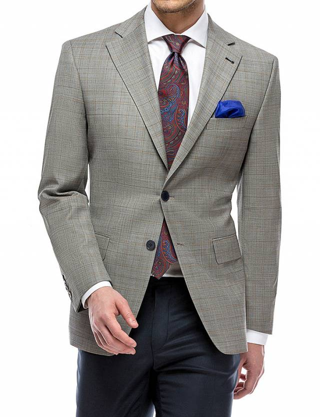 Sacou Prestige Window Pane Light Grey Checks-0