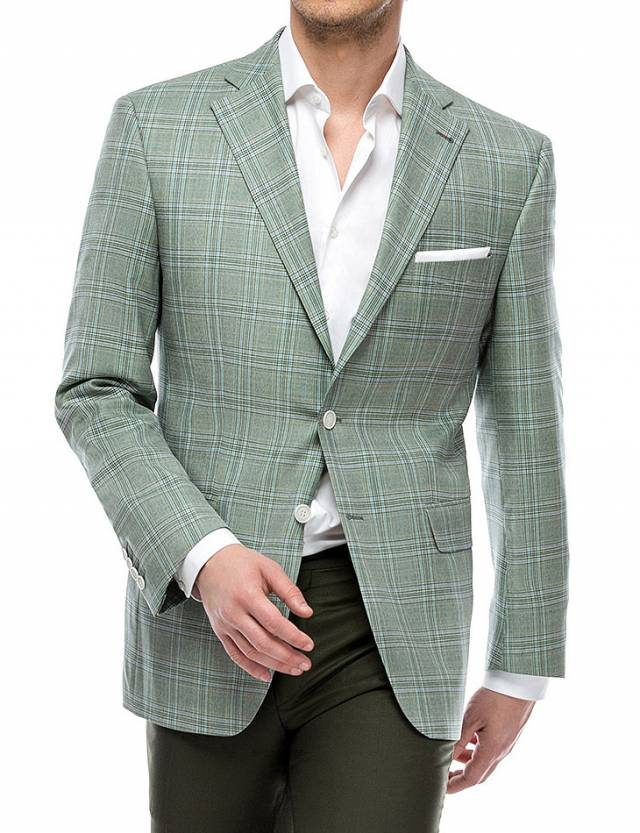 Sacou Prestige Worsted Green Check-0